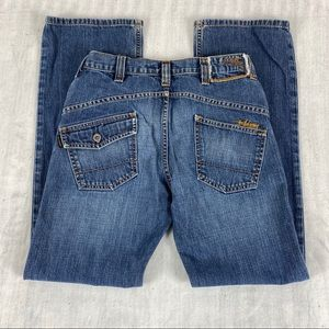 Billabong Vintage Relaxed Fit Jeans Size 28/30 Curved Back Medium Wash Fading